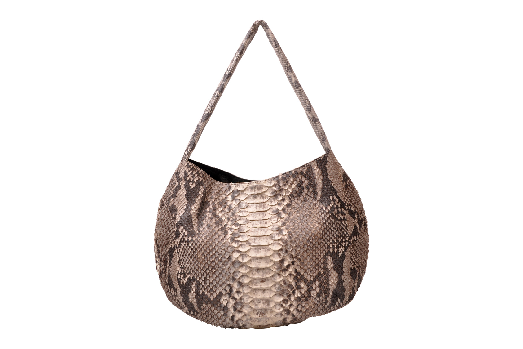 Natural python scale patterns create a truly one of a kind handbag.