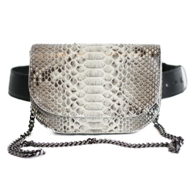 python skin belt bag by Mabyl